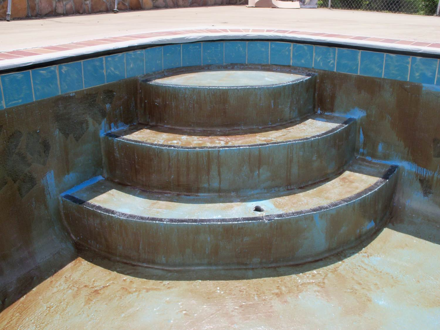 Pool steps before Granitex™ coating